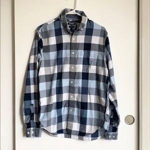 Express Men's blue plaid soft wash button down M